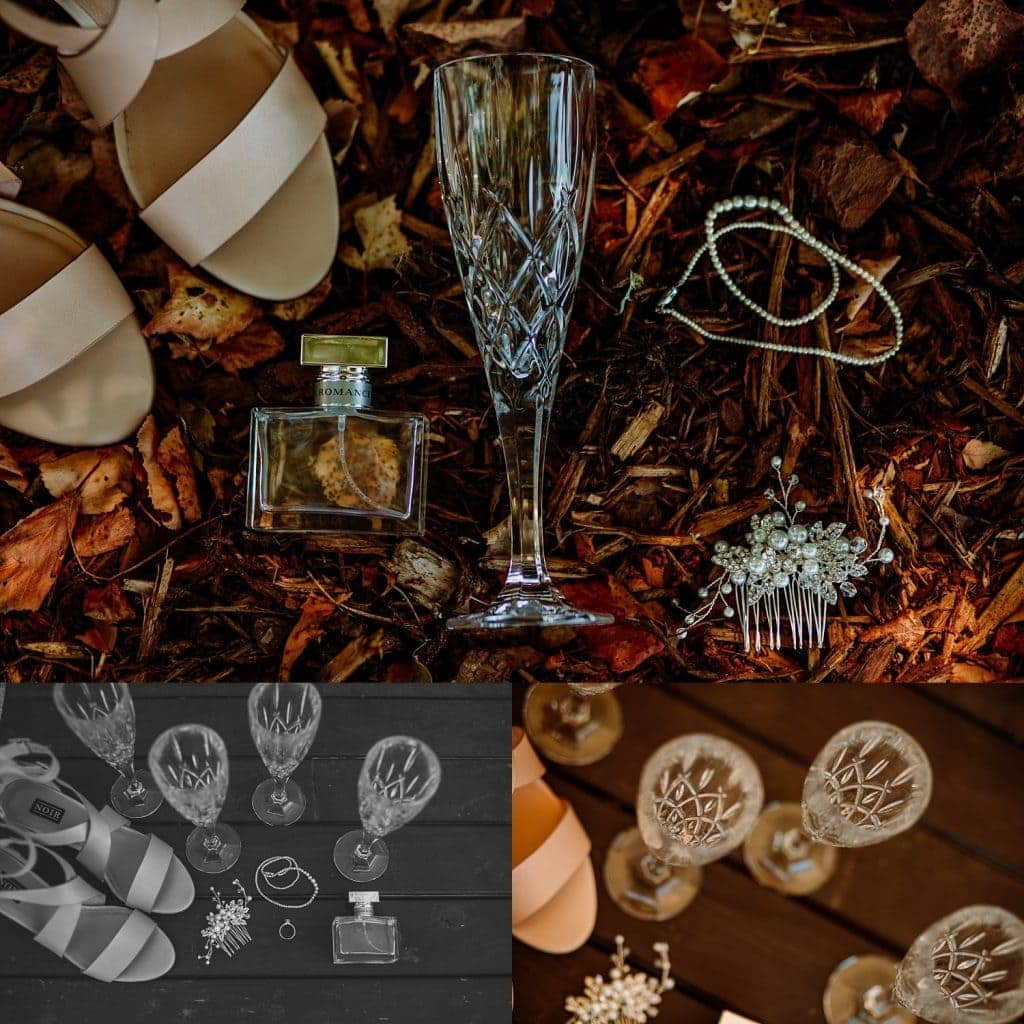 a compliation of three photos in flat-lay editorial style showing the bride's jewelry, shoes, perfume, hair comb and crystal wedding glasses