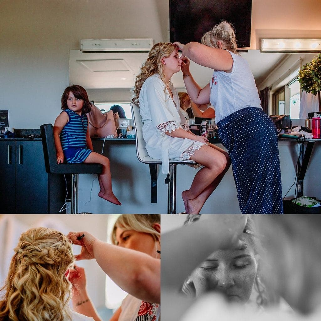 A compilation of images showing the bride having her bridal makeup applied