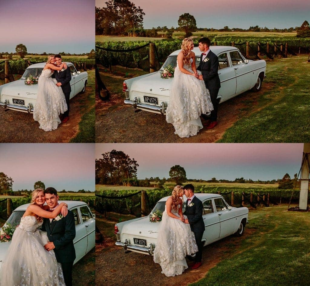 A bride sitting on the boot of a Ford Zephyr embracing her new husband at sunset