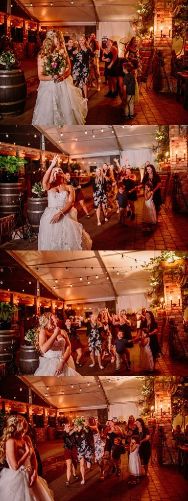 A series of photos showing the bridal making a bouquet toss to a group of waiting guests